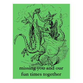 Tanzen-Drachepostkarte Postkarte