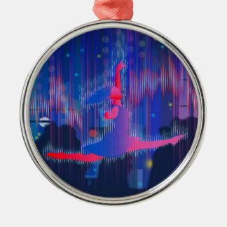 Tanzen durch neues Jahr Silbernes Ornament