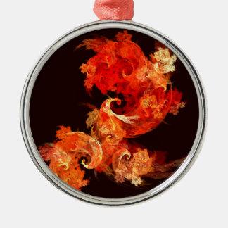 Tanzen Firebirds abstrakte Kunst rund Rundes Silberfarbenes Ornament