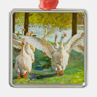 Tanzen-Gänse Silbernes Ornament
