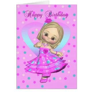 Tanzen-Geburtstagskarte des kleinen Mädchens - Karte