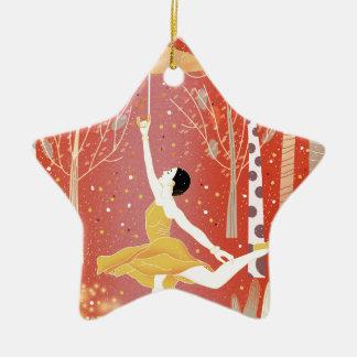 Tanzen in Schnee-Rot Keramik Ornament