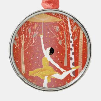 Tanzen in Schnee-Rot Silbernes Ornament