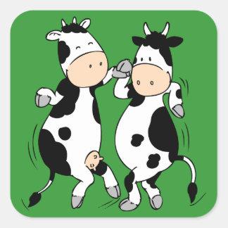 Tanzen-Kühe (mooviestars) Quadratischer Aufkleber