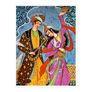 Tanzen Nymphe und Musiker Postkarte