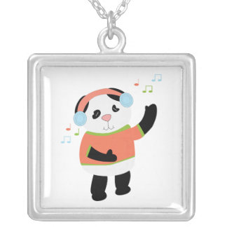 Tanzen-Panda-Bärn-Musiknoten Versilberte Kette