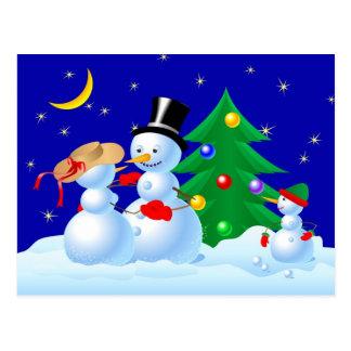 Tanzen-Schneemänner Postkarte