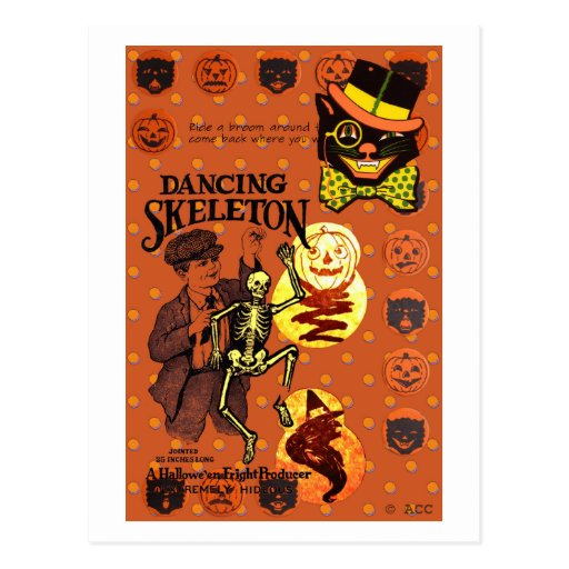 Tanzen-Skelett Postkarten