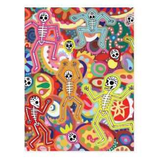 Tanzen-Skelett-Postkarte Postkarte