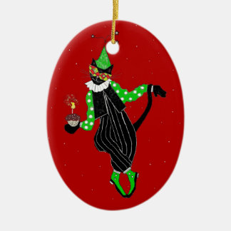 Tanzen-Spaßvogel-Katze Keramik Ornament
