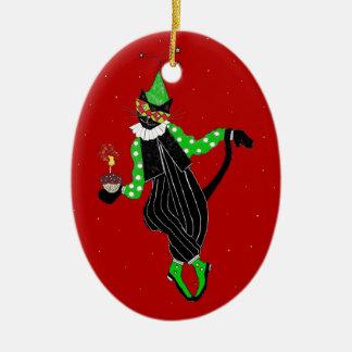 Tanzen-Spaßvogel-Katze Ovales Keramik Ornament
