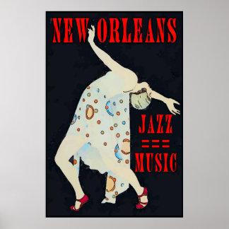 Tanzen zur Jazz-Musik Orleans Poster