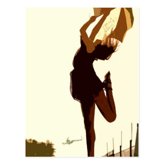 Tanzende freie Dame in goldener Postkarte