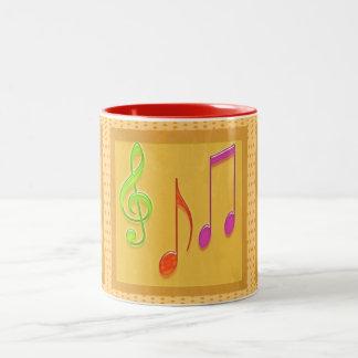 Tanzende musikalische Symbole Zweifarbige Tasse