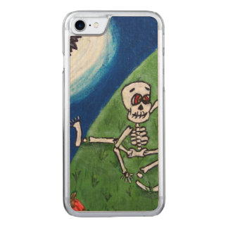 Tanzender lustiger Skeleton Schläger-Mond Carved iPhone 8/7 Hülle
