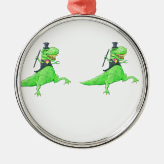 Tanzendinosaurier Rundes Silberfarbenes Ornament