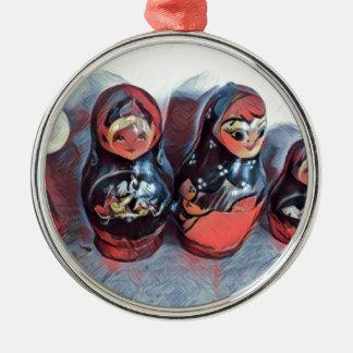 Tanzenpuppen Silbernes Ornament