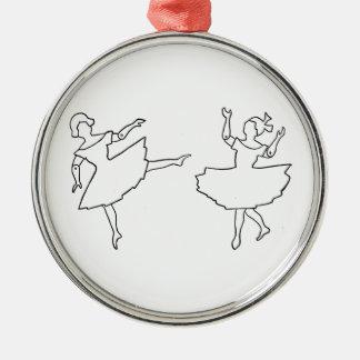 Tänzer-Ausschnitt-Illustration Rundes Silberfarbenes Ornament