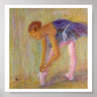 Tänzer, der ihre Ballett-Schuhe, Plakat bindet