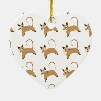 Tapeten-Hintergrundmuster der niedlichen Katzen Keramik Herz-Ornament