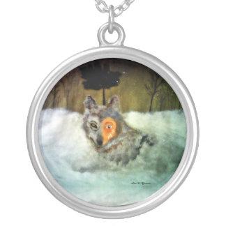 Tapferer Wolf Halskette Mit Rundem Anhänger