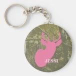 Tarnung u. rosa Rotwild-Kopf personalisiertes Keyc Schlüsselanhänger
