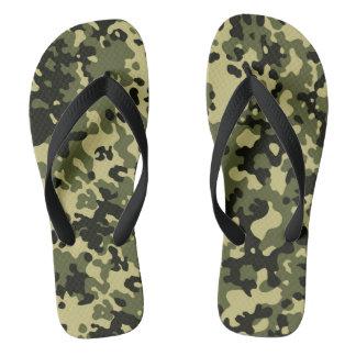 Tarnungs-Camouflage-Grün-Gelb-Schwarzes Flip Flops
