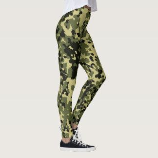 Tarnungs-Camouflage-Grün-Gelb-Schwarzes Leggings