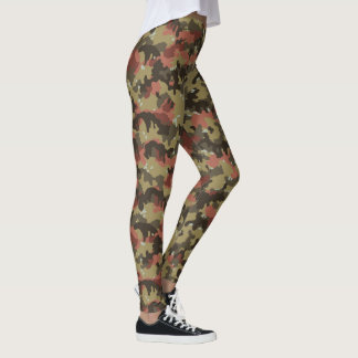 Tarnungs-Camouflage-Waldgrün-Rost-Weiß Leggings