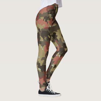 Tarnungs-Camouflage-Waldkakifarbiger grüner Rost Leggings