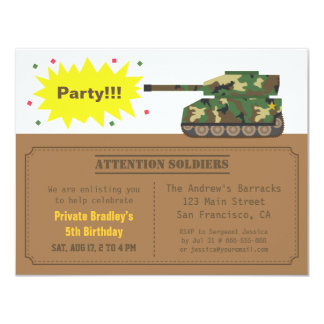 Tarnungs-Druck-Behälter-Jungen-Geburtstags-Party 10,8 X 14 Cm Einladungskarte