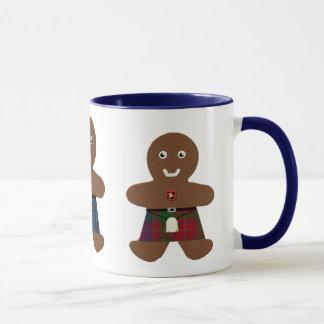 Tartan-karierte Lebkuchen-Mann-Tasse Tasse
