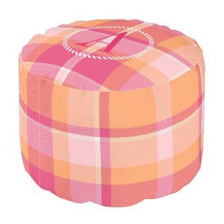 Tartan-orange und rosa Monogramm ID210 Hocker