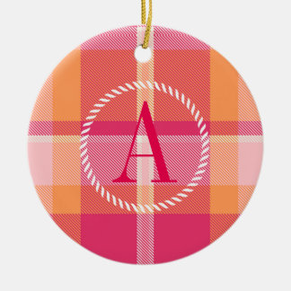 Tartan-orange und rosa Monogramm ID210 Keramik Ornament
