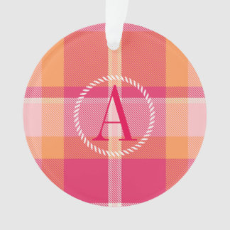 Tartan-orange und rosa Monogramm ID210 Ornament