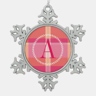Tartan-orange und rosa Monogramm ID210 Schneeflocken Zinn-Ornament