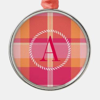 Tartan-orange und rosa Monogramm ID210 Silbernes Ornament