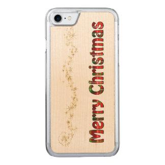 Tartan-Typografie - frohe Weihnachten - Goldfolie Carved iPhone 8/7 Hülle
