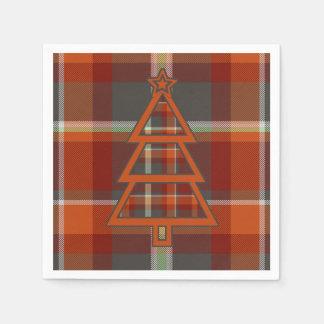 Tartan-Weihnachtsbaum-Paprika und Schiefer ID211 Serviette