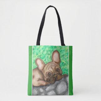 Tasche der Kitz-französischen Bulldogge mit Grün