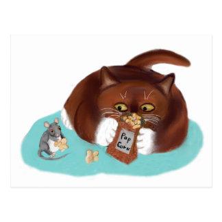 Tasche des Popcorns für Maus und Kätzchen Postkarte