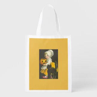 Tasche Mädchen-Kürbis-Katzen-Vintage Halloweens Wiederverwendbare Einkaufstasche