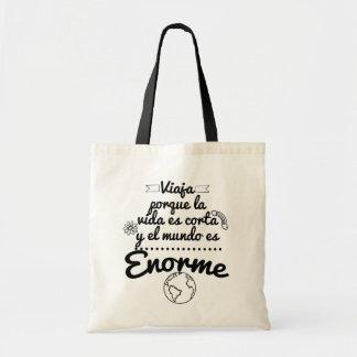 Tasche reist, dass das Leben und die Welt enorm