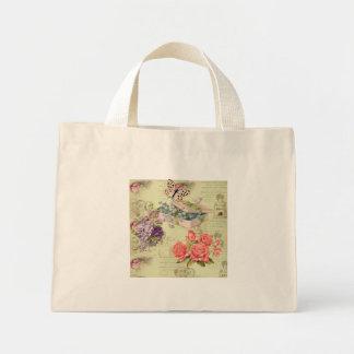 Tasche vintage, Blumen, Schmetterlinge, Rosen und