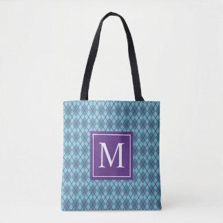Taschen-Tasche des Türkis-Blau-Rauten-Monogramm-| Tasche