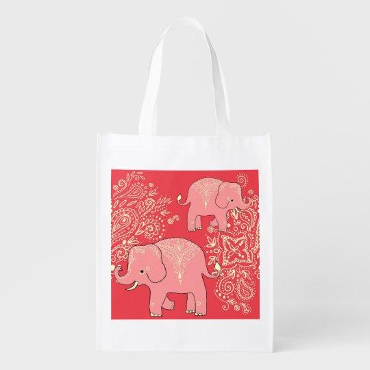 706a27b1bca7d Taschen-Tasche Mehndi Elefanten wiederverwendbare Wiederverwendbare  Einkaufstasche
