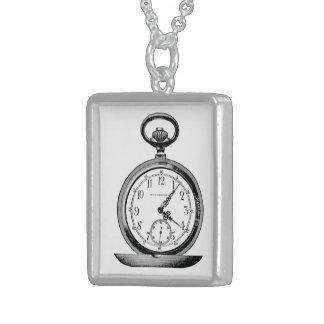 Taschen-Uhr-Vintage Zeitungs-Anzeige Sterling Silberkette
