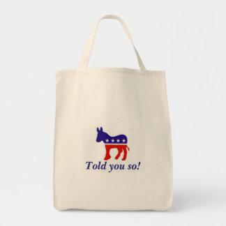 """Taschentasche, demokratischer Esel """"erklärte Ihnen Tragetasche"""