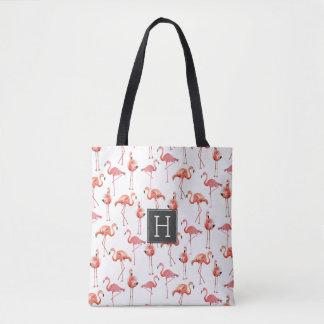 Taschentasche des Flamingo-Monogramm-Muster-| Tasche