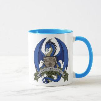Tasse 11oz des Stonefire Drache-Wappen-(blauer